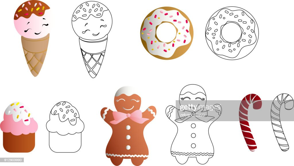 Drawing of a set with ice lolly, cookies, donuts with cream, cupcakes, bonbon and sprinkles with smile faces and colorful round candy on a light background. With uncolored line art copy