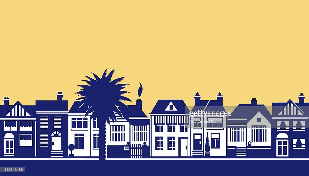 A drawing of a street scene in blue on soft yellow : stock illustration