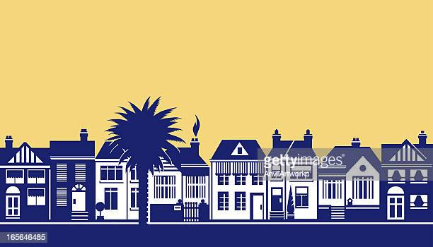 a drawing of a street scene in blue on soft yellow - natural parkland stock illustrations, clip art, cartoons, & icons