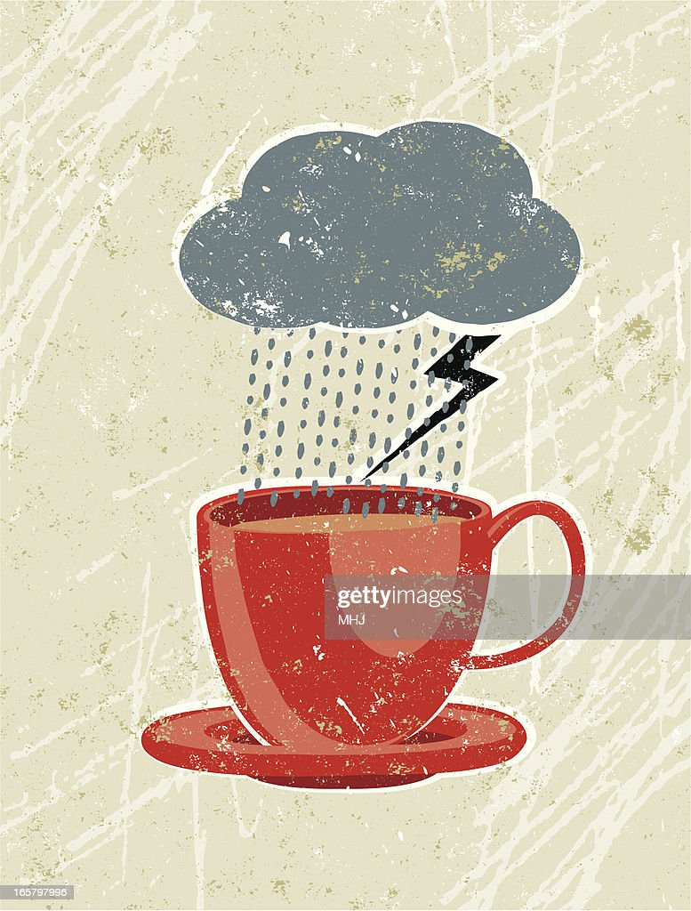 Drawing of a thundercloud raining into a red cup : stock illustration