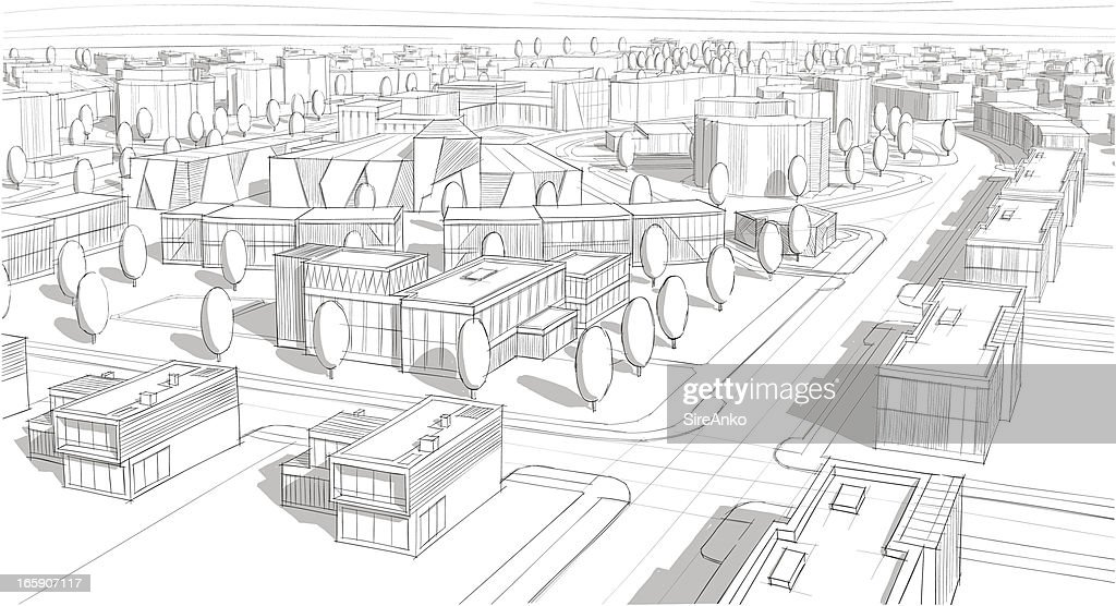 Drawing Of A Village Building Plan Vector Art Getty Images