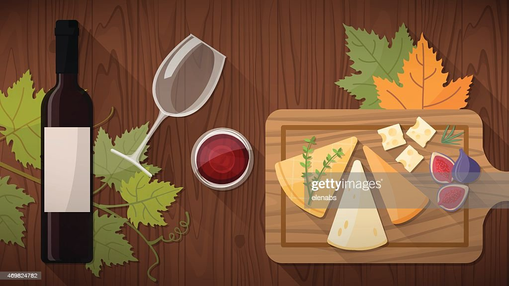 Drawing of a wine tasting with a cheese board with figs