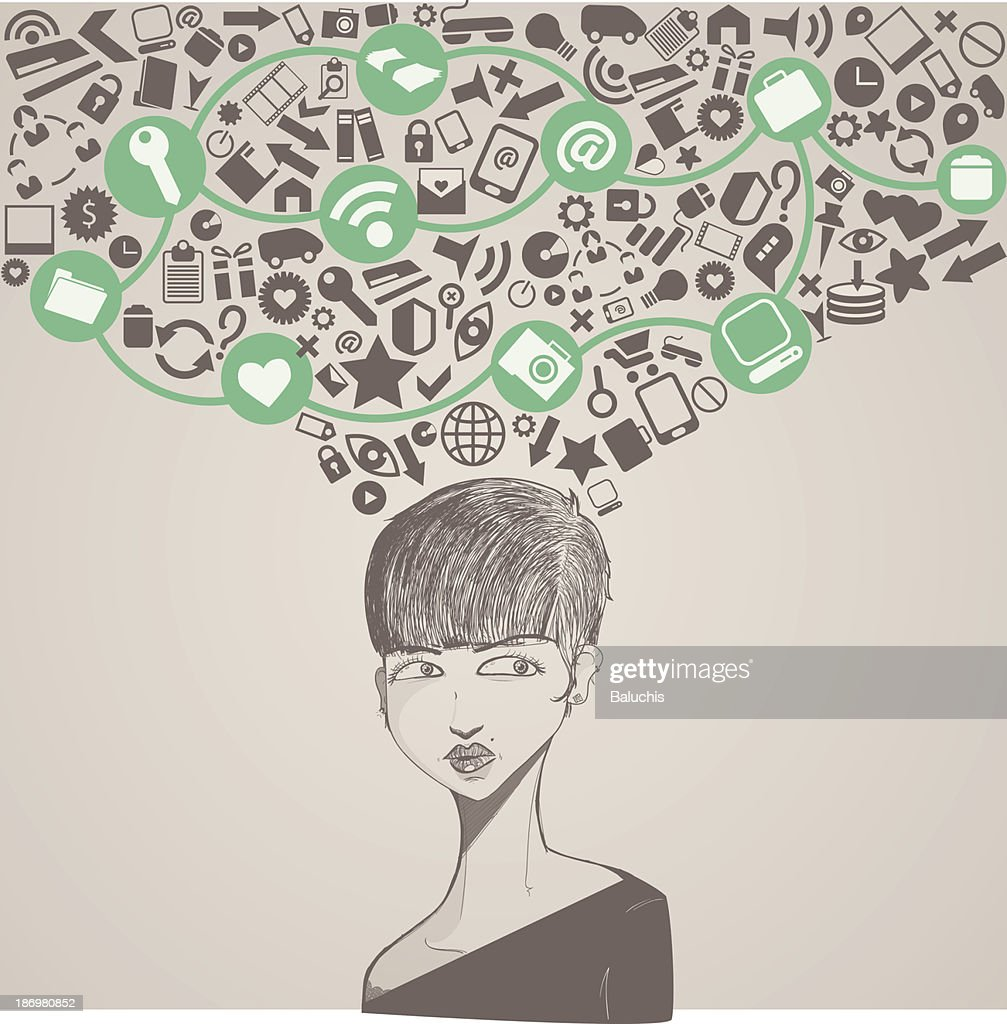Drawing of a woman with social symbols coming from her head
