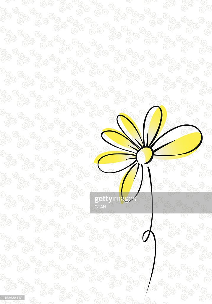 A drawing of a yellow and black daisy on white and gray
