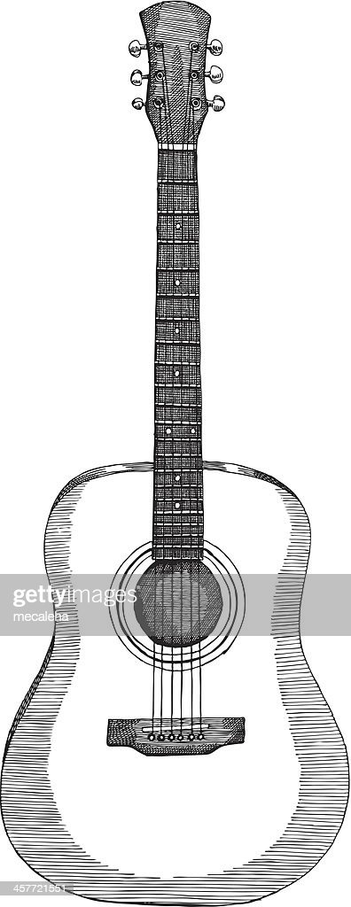 Drawing of an acoustic guitar in black and white