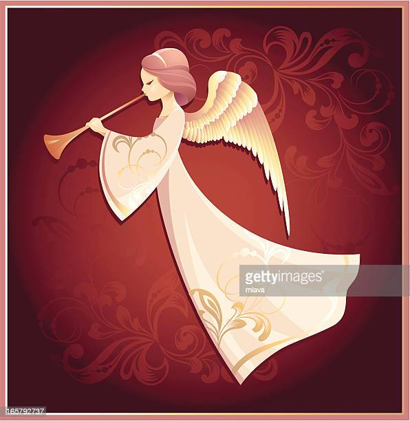 Drawing of an angel on a red background