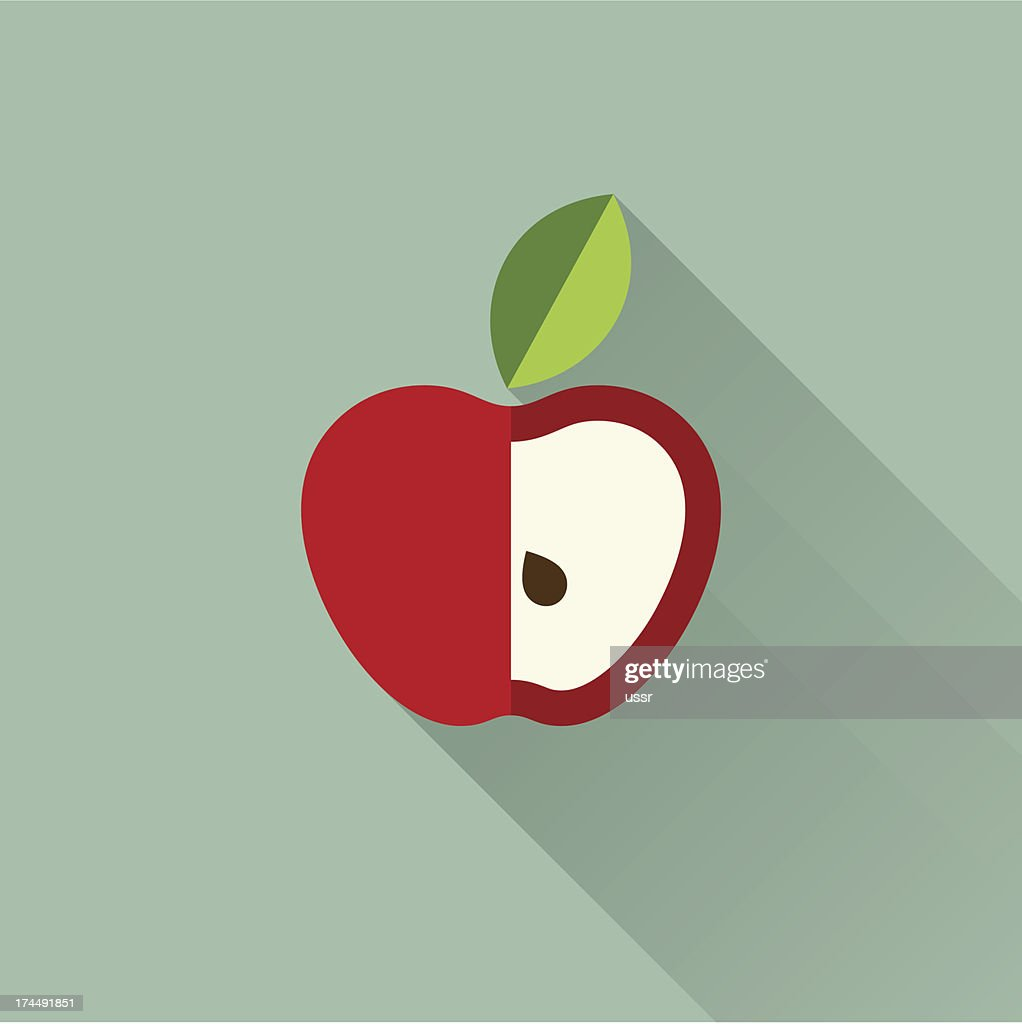 Drawing of an apple with a chunk cut out, and a single lead