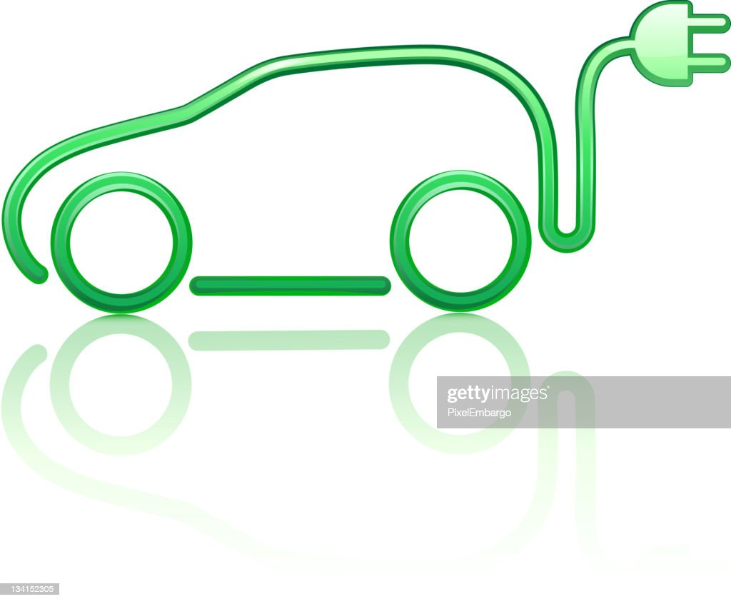 A drawing of an electricity powered car