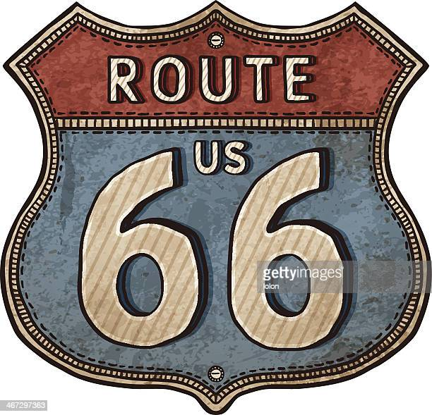 Drawing of an old rusty American sign for Route 66