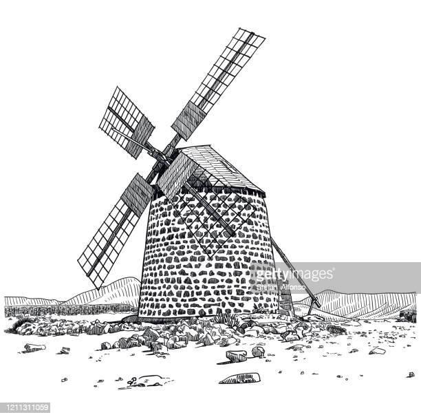 ilustraciones, imágenes clip art, dibujos animados e iconos de stock de dibujo de un antiguo molino de viento - molino de viento