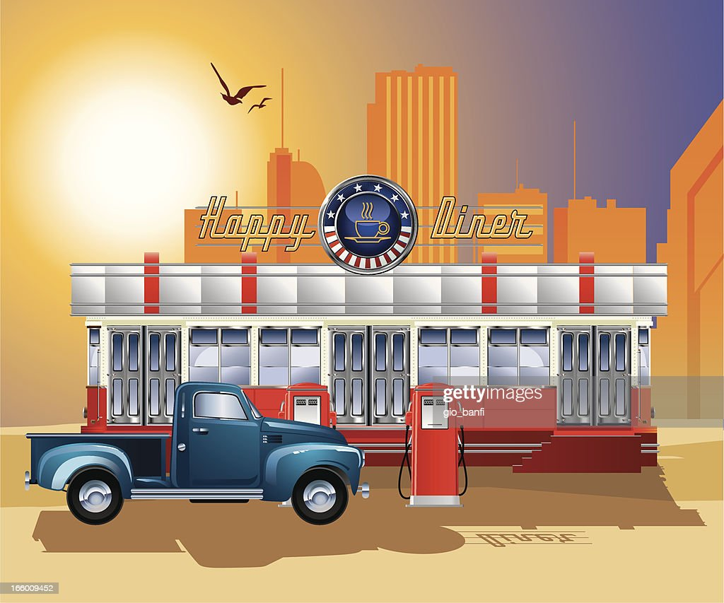 A drawing of an old-fashioned diner with a gas station