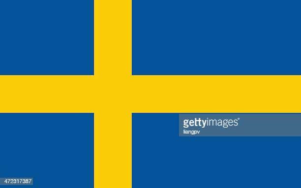 drawing of blue and yellow flag of sweden - sweden stock illustrations