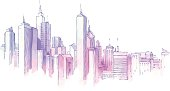 Drawing of city skyline on white background