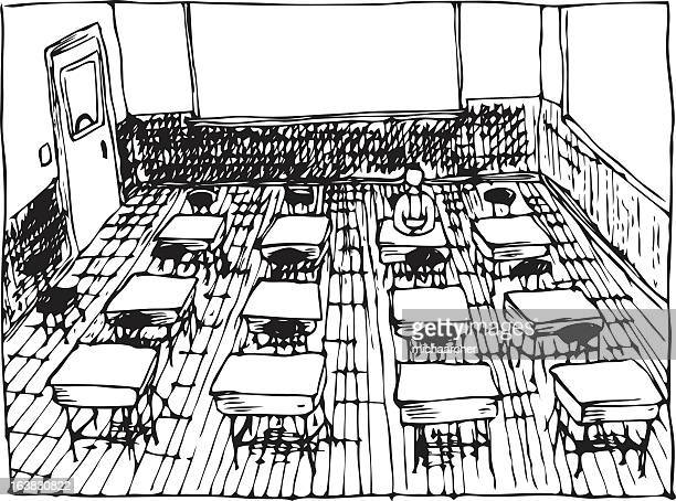 Drawing of classroom in black and white
