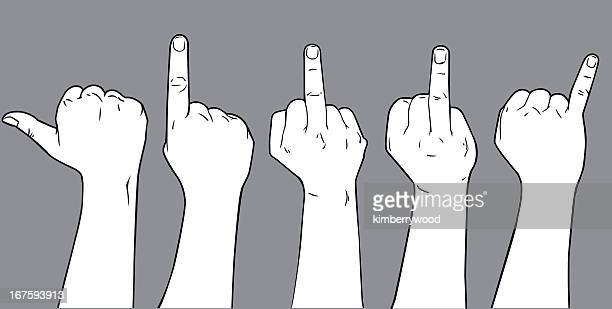 drawing of five hands, each holding up a different finger - obscene gesture stock illustrations, clip art, cartoons, & icons