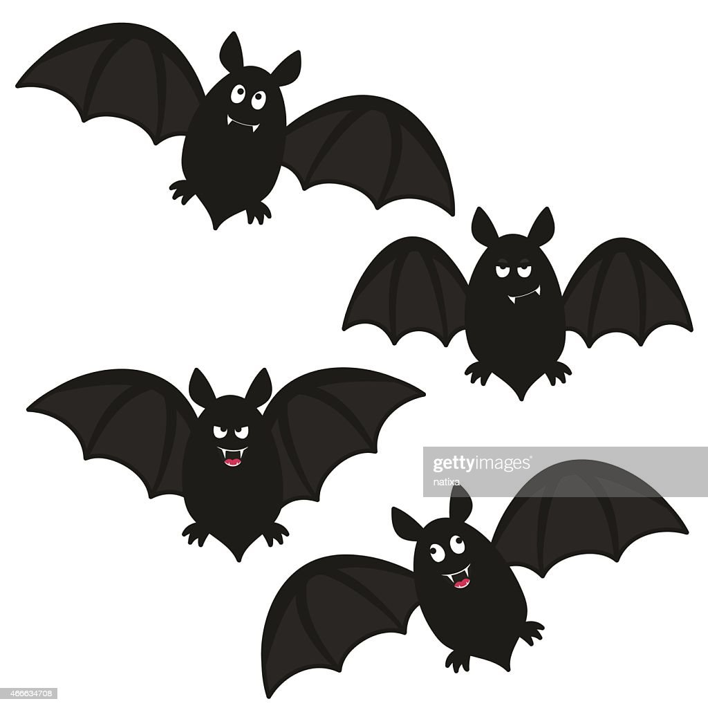 Drawing of four funny looking black bats