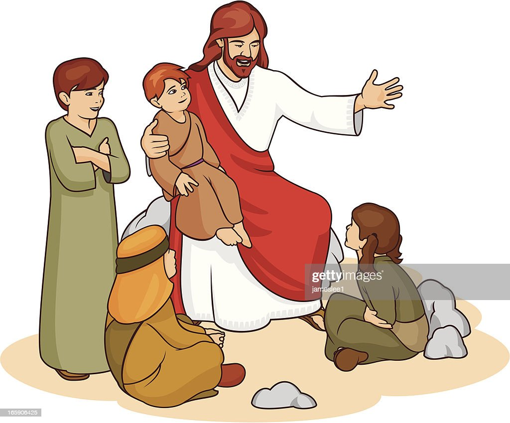 Drawing of Jesus and children telling them a story : stock vector