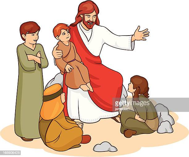 drawing of jesus and children telling them a story - jesus christ stock illustrations, clip art, cartoons, & icons