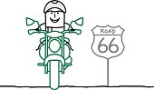 Drawing of motorcyclist on interstate road 66