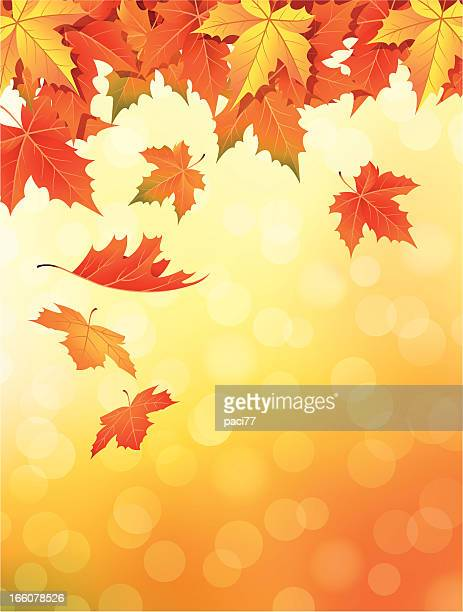 Drawing of orange to red leaves falling in autumn