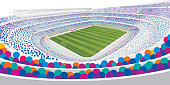 Drawing of panoramic view of a white soccer stadium filled with colorful people on white background with wide angle view in large format