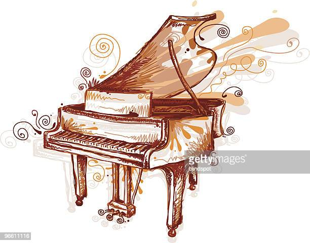 drawing of piano in sepia tones - piano stock illustrations, clip art, cartoons, & icons