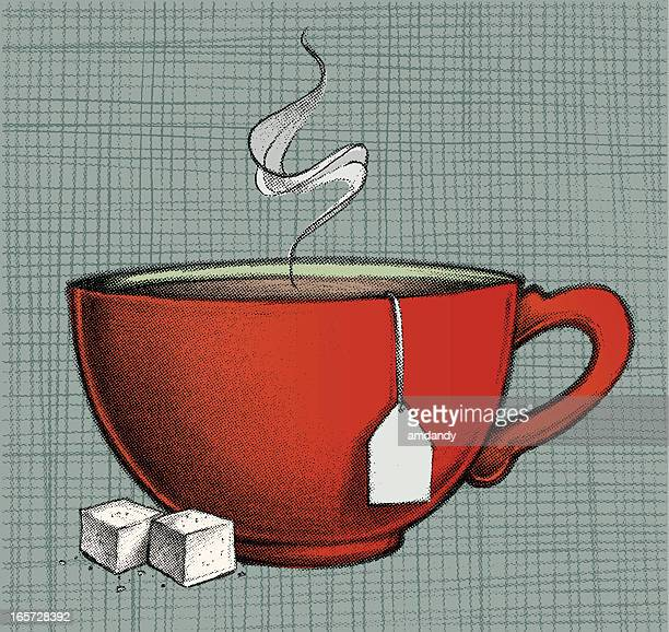 drawing of red cup of hot tea and two lumps of sugar - sugar cube stock illustrations, clip art, cartoons, & icons