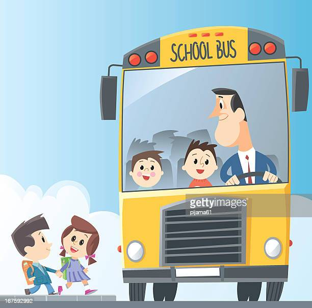 Drawing of school bus with children entering and bus driver