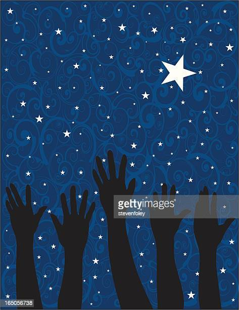 Drawing of silhouette hands reaching up to a star filled sky