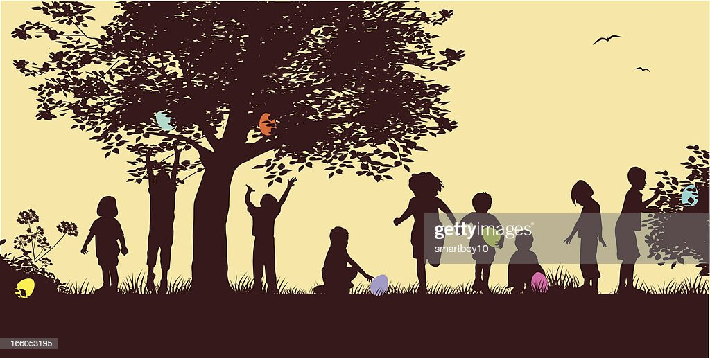 Drawing Of Silhouettes Of Children On An Easter Egg Hunt ...