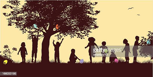 Drawing of silhouettes of children on an Easter egg hunt