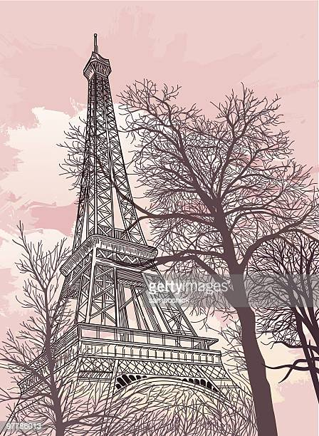 Drawing of the Eiffel Tower with a pink sky and trees