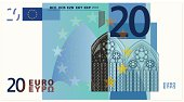 Drawing of the twenty Euro bank note