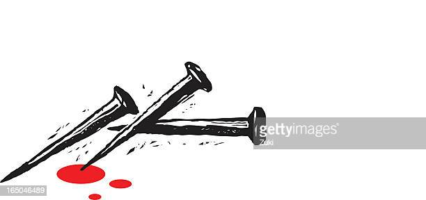 drawing of three black nails with red drops over white - the crucifixion stock illustrations, clip art, cartoons, & icons