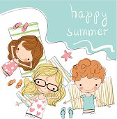 Drawing of three kids on a beach with happy summer written