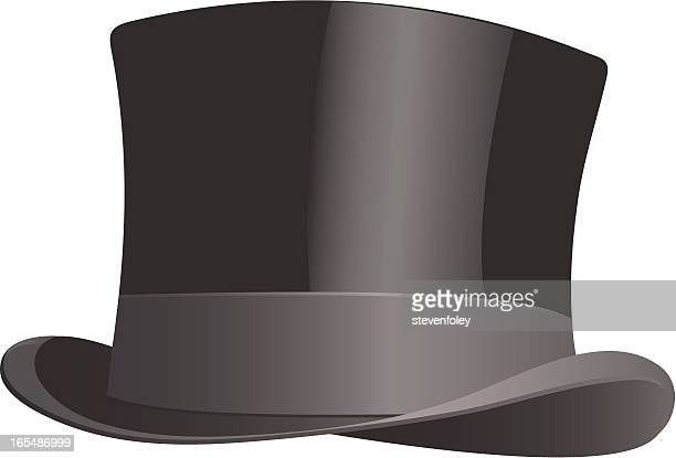 drawing of traditional black top hat - top hat stock illustrations
