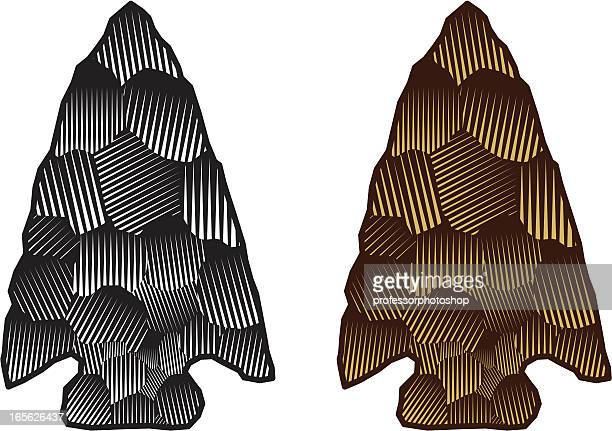 drawing of two spearheads, one silver and one gold - indigenous north american culture stock illustrations, clip art, cartoons, & icons
