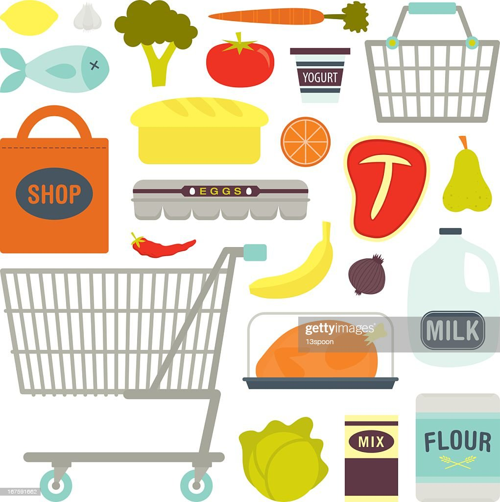 Drawing of various common supermarket shopping items