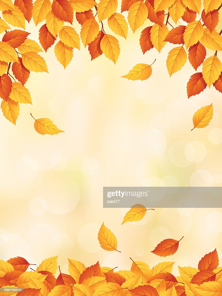 Drawing of yellow to red leaves falling in autumn