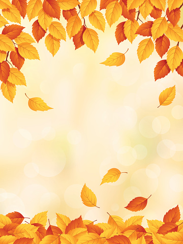Drawing of yellow to red leaves falling in autumn - gettyimageskorea