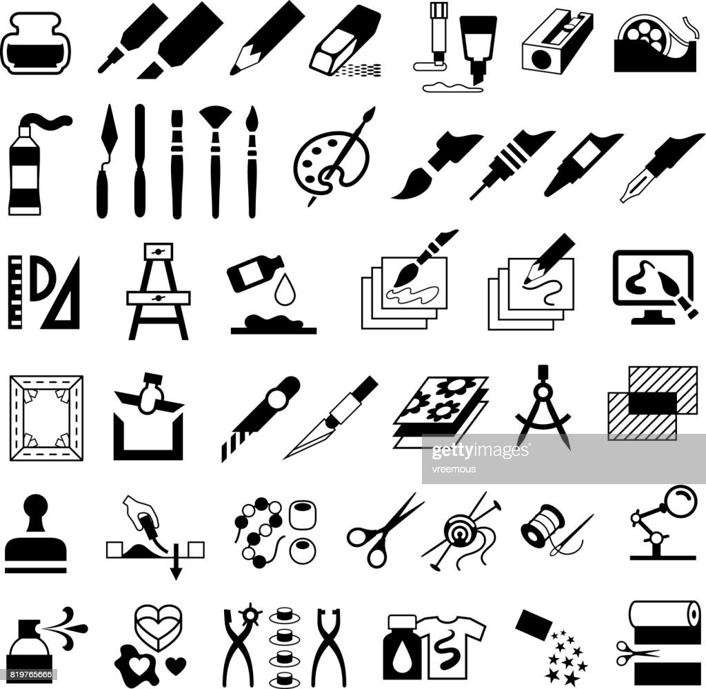 Drawing Painting Art And Craft Icons Stock Vector Getty Images