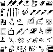Drawing, Painting, Art and Craft Icons