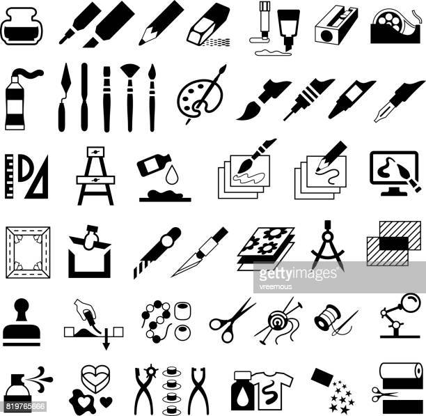 drawing, painting, art and craft icons - silk screen stock illustrations