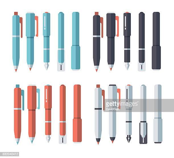 ilustrações, clipart, desenhos animados e ícones de conjunto de canetas & desenho de lápis - caneta