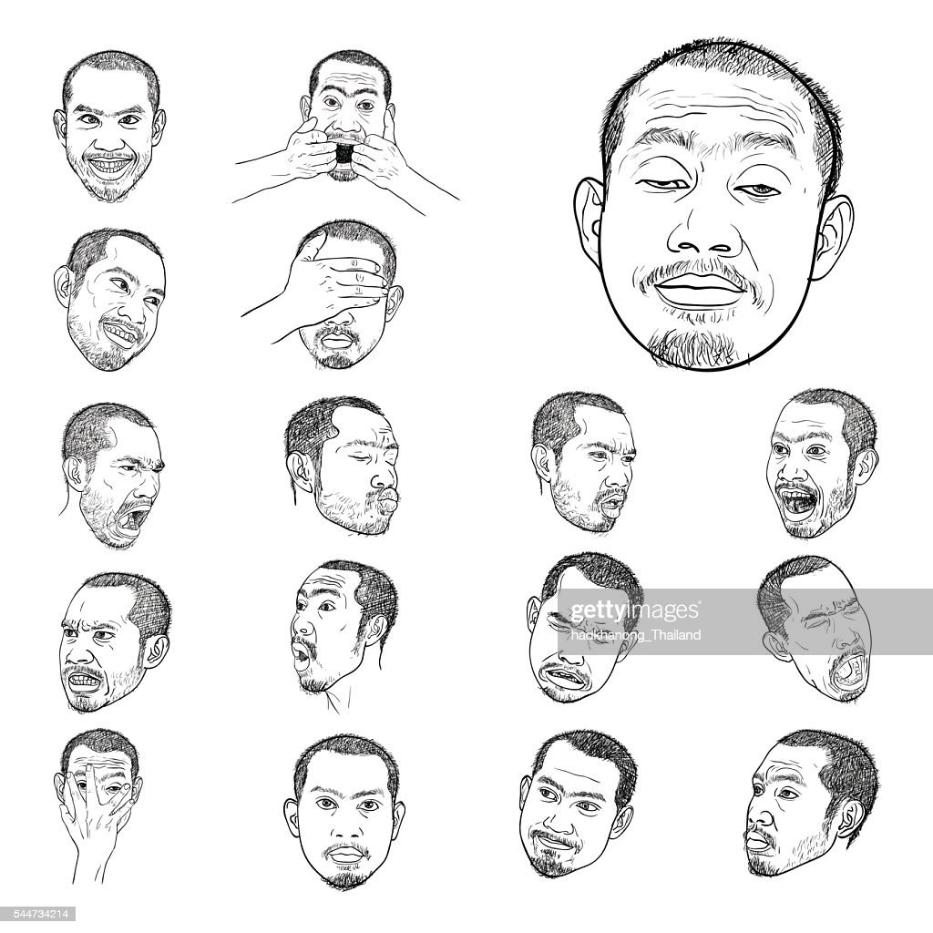 Drawing set of young asian man's portraits