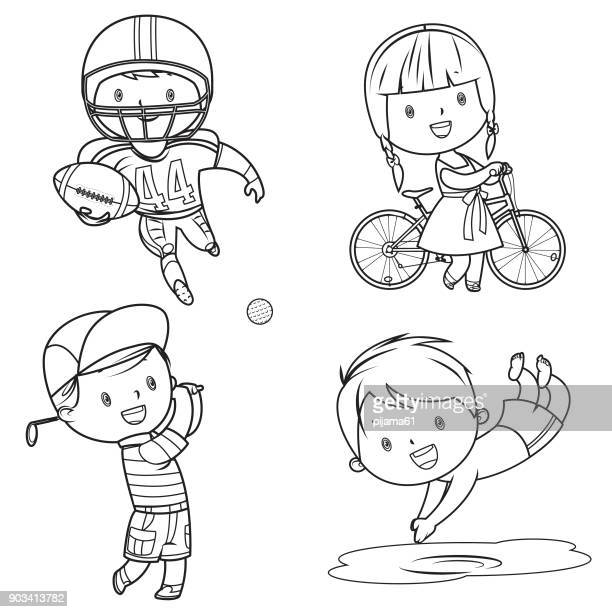 drawing sport kids - sport set competition round stock illustrations