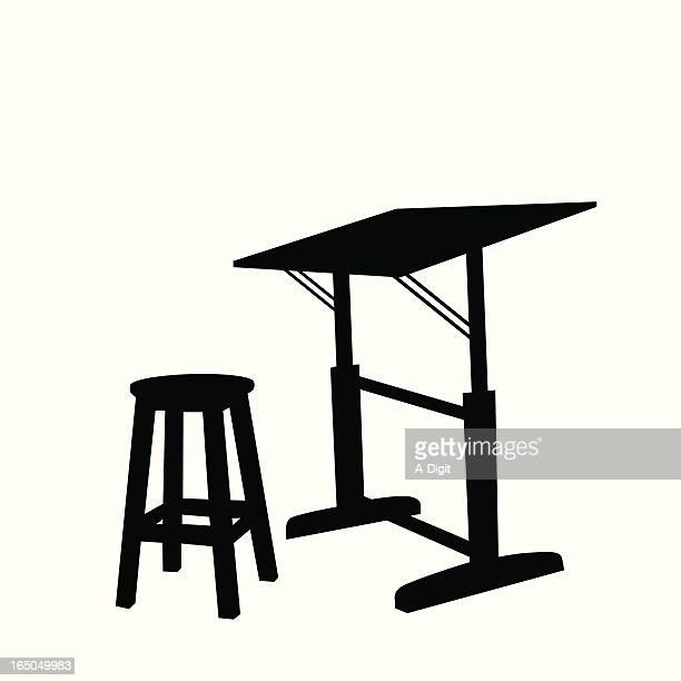 drawing table vector silhouette - stool stock illustrations, clip art, cartoons, & icons