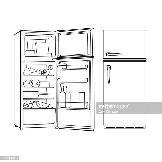 赤い冷蔵庫の正面図を描き、ホームスクーリングを行うママや教材の写真を探している教師のための教材を組み立てたり作成したりするための白い背景にそれを開きます。 - 冷蔵庫点のイラスト素材/クリップアート素材/マンガ素材/アイコン素材