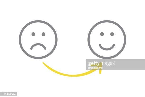 unglückliche und glückliche lösungskonzepte zeichnen - motivation stock-grafiken, -clipart, -cartoons und -symbole