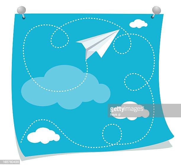 Drawing With Paper Airplane Flying In Clouds Pinned On Wall